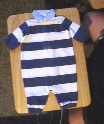 Ralph Lauren Polo Infant Boy's 3 Months Blue & White Striped One Piece Outfit