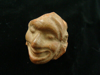Ancient Pre-Columbian Aztec Ceramic Man's Head Ocarina Whistle Figure 1200-1500