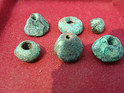 Lot of 6 ANCIENT PRE-COLUMBIAN MOCHE COPPER SPINDLE WHORL BEADS 100BC-600AD PERU
