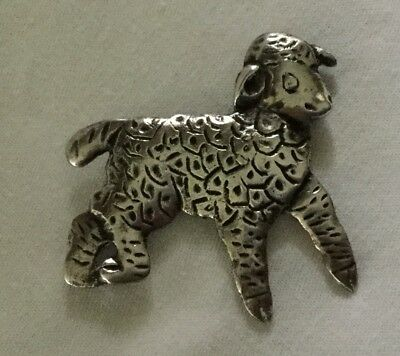 Vintage STERLING SILVER SHEEP PIN 11.4 grams