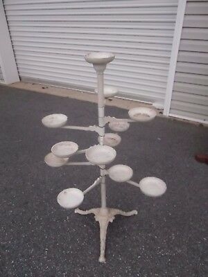 """Antique Ornate Cast Iron VICTORIAN Plant Stand Revolving Arms ESTATE FIND 42"""""""