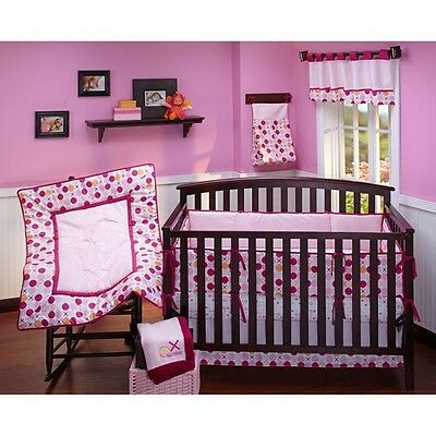 New Simply Baby Hugs & Kisses Girl 4-Piece Crib Bedding Set by Nojo Pink Dots