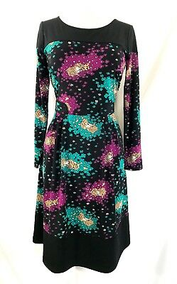 LEONA EDMISTON RUBY size 2 / 12 black & floral jersey shift dress BEAUTIFUL!