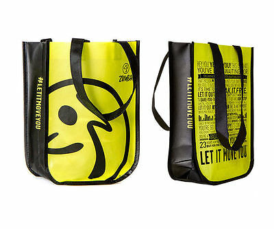 ZUMBA Fitness neon yellow/green Shopping Tote Gym Bag perfect for shoes NEW