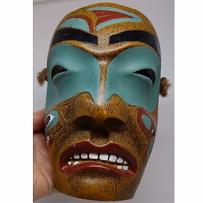 Indian Totem Ceremonial Mask Canada Inuit Resin Faux Carved Wood Robertson Repro