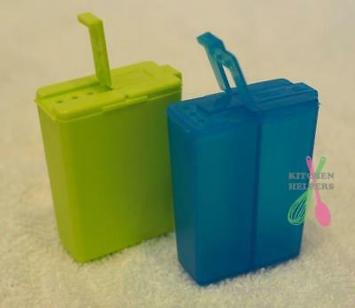 Tupperware Salt & Pepper Shakers -Blue or Green - for lunches, school, work -New