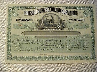 Chicago Burlington and Northern Railroad Co., 1880's Unissued Stock Certificate