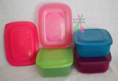 Tupperware Snack Storers/ Square Rounds Containers- 500ml Pink Blue Green - New