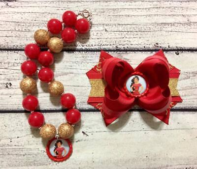 Elena of Avalor Hair Bow and Chunky Bead Necklace/Bubblegum Necklace Set