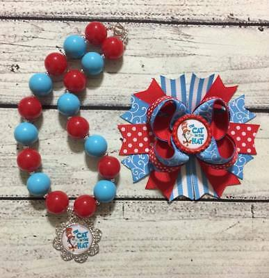 Cat In The Hat Hair Bow and Chunky Bead Necklace/Bubblegum Necklace Set