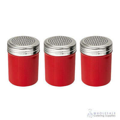 3x Salt Dredge 285mL Red Colour Coded Seasoning Shaker Sugar Spice Pepper Cocoa
