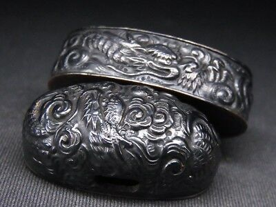 "Fine FUCHI/KASHIRA 18-19th Japanese Edo Antique Koshirae fitting ""Dragon"" e108"