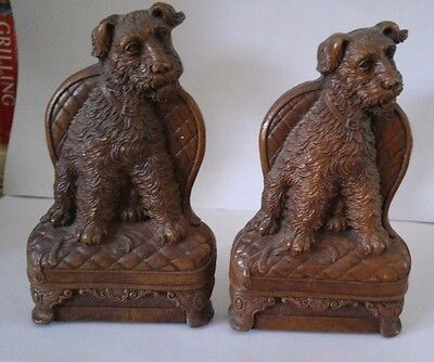 Vintage Ornawood Bookends Airedale Terrier