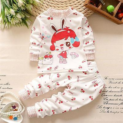 BibiCola Toddler Kids Infant Boys Girls Striped Cartoon Cotton Clothes Suit 1-4T