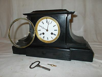 Antique FRENCH MANTEL Black SLATE CLOCK Stamped C.V With CHIME On BELL Marble