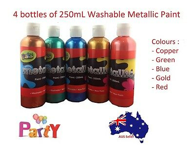 4 Pcs 250mL Washable Metallic Paint Mix N Match Colour Art Craft Student Artist