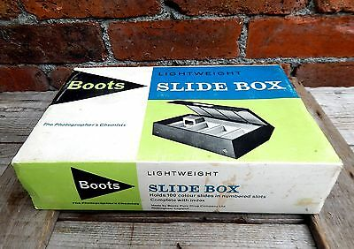 Vintage Boots Storage Case Box Photographic Photo Slides 35mm Capacity 100 #B