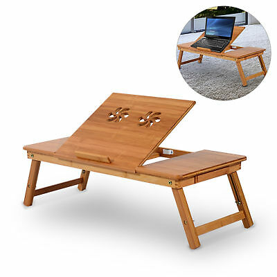 Large Laptop Desk Stand Foldable Notebook Table Adjustable W/Drawer & Cup Holder