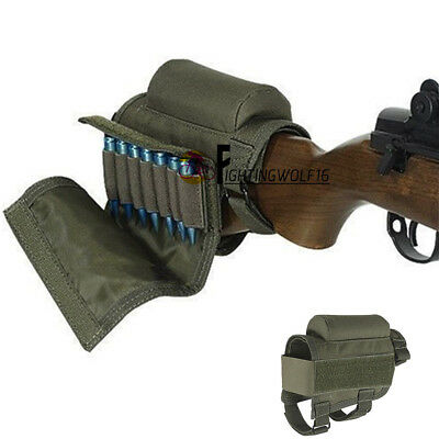 Tactical Rifle Buttstock Bullet Holder .308 .410 403 Cartridge Pouch Bag Airsoft