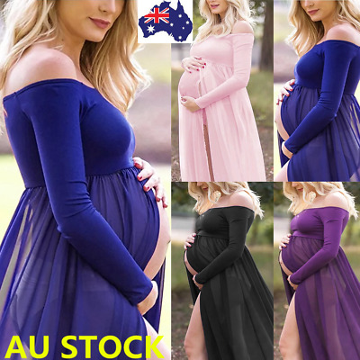Pregnant Women Off Shoulder Long Sleeve Split Maxi Dress Photography Props Shoot
