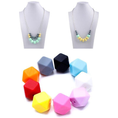 10Pcs Hexagon Silicone Beads Teething Chew Necklace DIY Baby Teether Making NEW