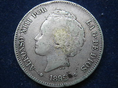 "Mds Spanien 5 Pesetas 1892 ""alfonso Xiii"", Silber"
