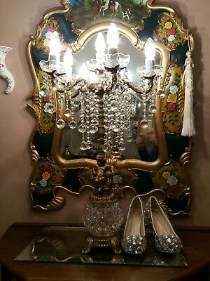 Vintage Brass and Crystal  Table Lamp.  Cherub.