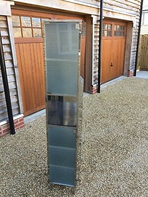 Tall display cabinets a pair with glass doors picclick uk for Tall stainless steel bathroom cabinet