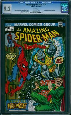 Amazing Spider-Man #  124  The Mark of the Man-Wolf !  CGC 9.2  scarce book !