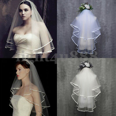 2T Bridal Crystal Wedding Veil Short Elbow Length Satin Edge Diamante Comb in UK