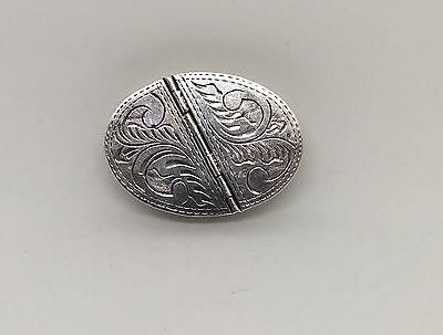 Solid Sterling Silver Split Partition Hand Chased Oval Pill Box By London Maker