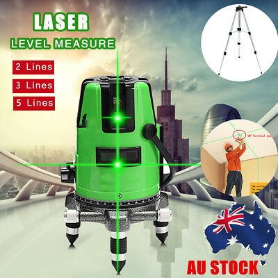 AU Outdoor 2/3/5 Line Green Laser Level 360° Rotary Auto Self-leveling w/ Tripod
