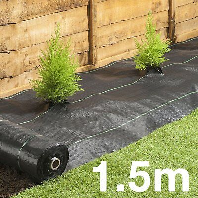 1.5m Wide HEAVY DUTY 100gsm Weed Control Fabric Ground Cover Membrane Landscape