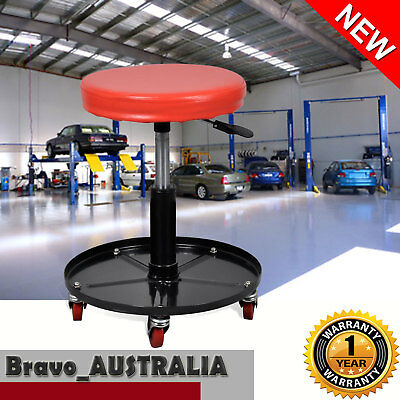 Mechanic Shop Garage Creeper Round Rolling Seat Tool Tray Stool Swivel Wheels