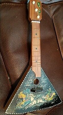 Palekh Hand Painted Troika Soviet Russia Lacquer Musical Instrument
