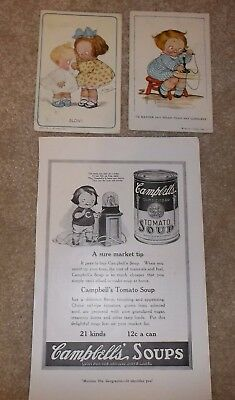 lot of 2 vintage Campbell kids postcards and magazine ad