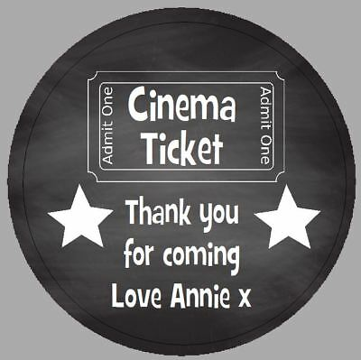 24 x 40m Round Personalised Stickers Movie Cinema Chalkboard Effect Party Labels