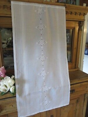 Beautiful  Vintage French White Cafe Panel /  Door Curtain ~ Country Home
