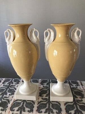 RARE LENOX  VASE WITH Soft Yellow Ivory Swan HANDLES & BASE OLD BLUE MARK 10""