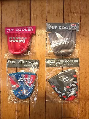 Lot of 4 Dunkin' Donuts Cup Koozies/Coolers (2)Small / (2)Small/Medium *NEW*