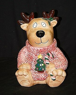 Whimsical Reindeer w Ugly Christmas Sweater Candy Cookie Jar Xmas Holiday Decor