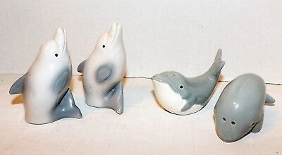 Vintage Lot 2 Sets-Salt Pepper Shakers-Dolphins-Blue Whales-Japan