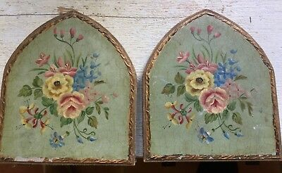 Vintage Hand Painted Wooden Bookends