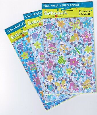 3 New Packs Prism Scrapbook Stickers! Cake Shoes Butterfly Flowers Pastel Colors