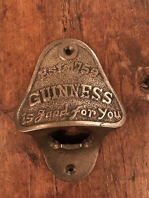 Cast Iron Bottle Opener/Wall Mounted/Heavy/Rustic/Antiqued/GUINNESS