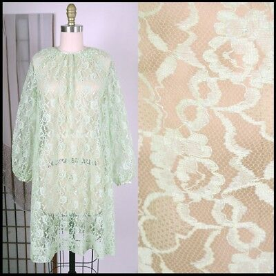 vtg 60s LIME GREEN FULL LACE mod psych midi smock coverup ROBE dress shell S M L