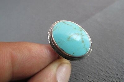 Vintage Old Pawn Oval Turquoise Adjustable Size Ring 4.7G
