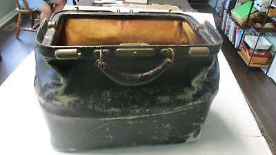 Vintage Black Leather Medical Doctors Bag