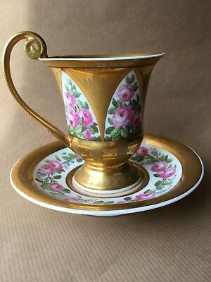 antique decorative cup and saucer, Berlinware c1790 with makers mark