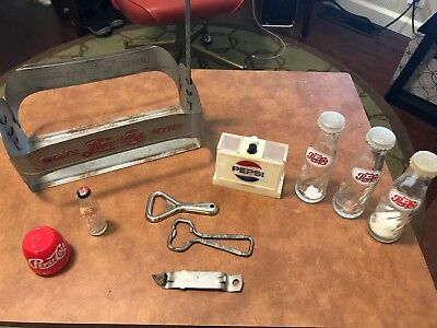 Lot of Vintage Pepsi Cola bottle openers, 1940's metal carrier and more